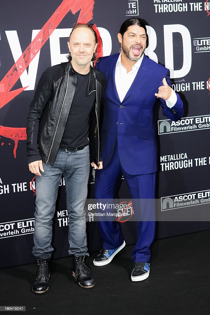 Lars Ulrich (L) and Robert Trujillo attend the German premiere of 'Metallica - Through The Never' on September 12, 2013 in Berlin, Germany.