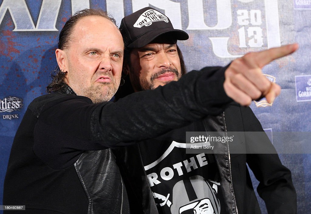 Lars Ulrich (L) and Robert Trujillo, drummer and bassist of the band Metallica, arrive for the fifth Metal Hammer Awards at Kesselhaus on September 13, 2013 in Berlin, Germany. The annual prizes are given by Metal Hammer, a German music magazine specialized in Heavy Metal and Hard Rock.