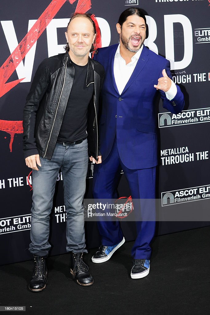Lars Ulrich (L) and Robert Trujillo of Metallica attend the German premiere of 'Metallica - Through The Never' on September 12, 2013 in Berlin, Germany.
