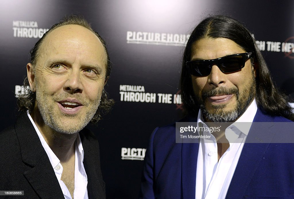 Lars Ulrich (L) and Robert Trujillo of Metallica attend the U.S. Premiere of Metallica Through The Never at the AMC Metreon on September 16, 2013 in San Francisco, California.