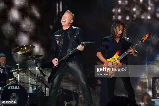 Lars Ulrich James Hetfield and Kirk Hammett of Metallica perform live on stage at Lincoln Financial Field on May 12 2017 in Philadelphia Pennsylvania