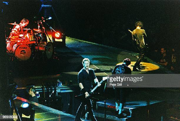 Lars Ulrich James Hetfield Jason Newsted and Kirk Hammett of Metallica perform on stage at The Nynex Arena on October 15th 1996 in Manchester England