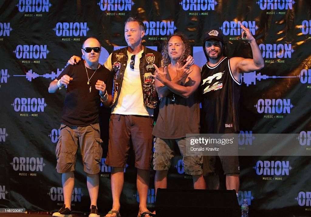 <a gi-track='captionPersonalityLinkClicked' href=/galleries/search?phrase=Lars+Ulrich&family=editorial&specificpeople=209281 ng-click='$event.stopPropagation()'>Lars Ulrich</a>, <a gi-track='captionPersonalityLinkClicked' href=/galleries/search?phrase=James+Hetfield&family=editorial&specificpeople=178297 ng-click='$event.stopPropagation()'>James Hetfield</a>, <a gi-track='captionPersonalityLinkClicked' href=/galleries/search?phrase=Kirk+Hammett&family=editorial&specificpeople=204665 ng-click='$event.stopPropagation()'>Kirk Hammett</a> and Rob Trujillo of Metallica attend the 2012 Orion Music + More Festival Press Conference at Bader Field on June 22, 2012 in Atlantic City, New Jersey.