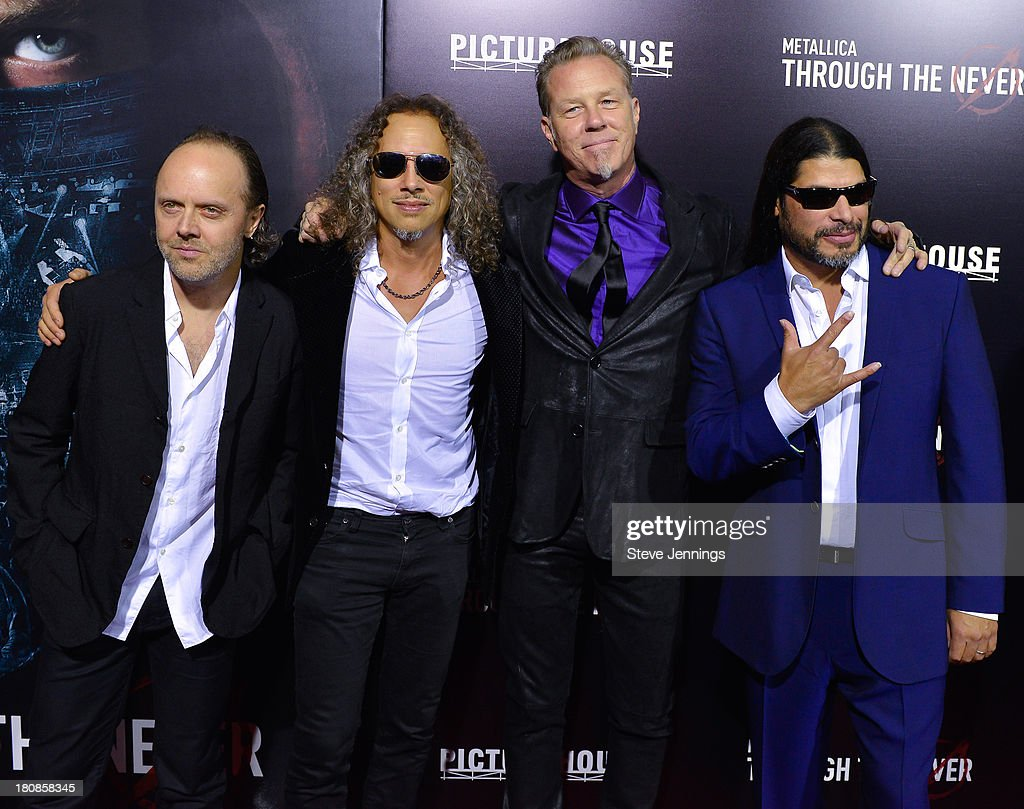 <a gi-track='captionPersonalityLinkClicked' href=/galleries/search?phrase=Lars+Ulrich&family=editorial&specificpeople=209281 ng-click='$event.stopPropagation()'>Lars Ulrich</a>, <a gi-track='captionPersonalityLinkClicked' href=/galleries/search?phrase=Kirk+Hammett&family=editorial&specificpeople=204665 ng-click='$event.stopPropagation()'>Kirk Hammett</a>, <a gi-track='captionPersonalityLinkClicked' href=/galleries/search?phrase=James+Hetfield&family=editorial&specificpeople=178297 ng-click='$event.stopPropagation()'>James Hetfield</a> and <a gi-track='captionPersonalityLinkClicked' href=/galleries/search?phrase=Robert+Trujillo&family=editorial&specificpeople=213071 ng-click='$event.stopPropagation()'>Robert Trujillo</a> (L-R) of Metallica attend the San Francisco Premiere of 'Metallica: Throught The Never' at AMC Metreon 16 on September 16, 2013 in San Francisco, California.
