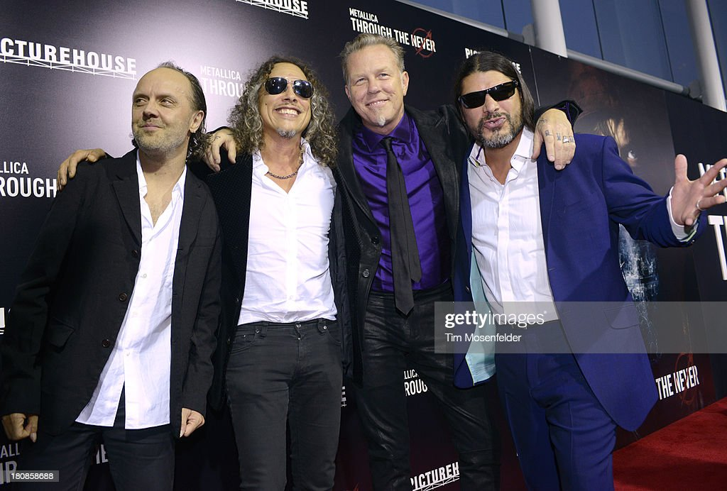 <a gi-track='captionPersonalityLinkClicked' href=/galleries/search?phrase=Lars+Ulrich&family=editorial&specificpeople=209281 ng-click='$event.stopPropagation()'>Lars Ulrich</a>, <a gi-track='captionPersonalityLinkClicked' href=/galleries/search?phrase=Kirk+Hammett&family=editorial&specificpeople=204665 ng-click='$event.stopPropagation()'>Kirk Hammett</a>, <a gi-track='captionPersonalityLinkClicked' href=/galleries/search?phrase=James+Hetfield&family=editorial&specificpeople=178297 ng-click='$event.stopPropagation()'>James Hetfield</a>, and <a gi-track='captionPersonalityLinkClicked' href=/galleries/search?phrase=Robert+Trujillo&family=editorial&specificpeople=213071 ng-click='$event.stopPropagation()'>Robert Trujillo</a> of Metallica attend the U.S. Premiere of Metallica Through The Never at the AMC Metreon on September 16, 2013 in San Francisco, California.