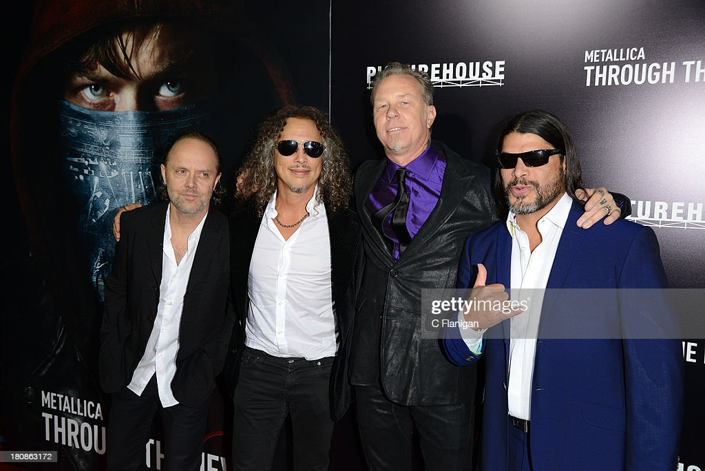 Lars Ulrich, Kirk Hammett, James Hetfield, and Robert Trujillo of Metallica attend the U.S. premiere of 'Metallica: Through The Never' at the AMC Metreon on September 16, 2013 in San Francisco, California.