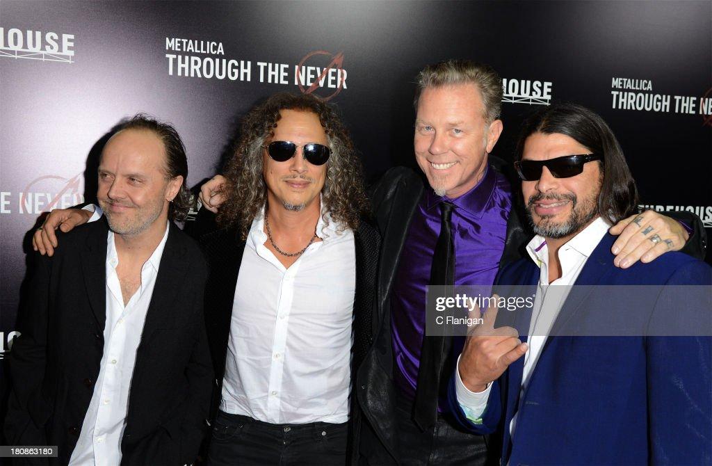 Lars Ulrich, Kirk Hammett, James Hetfield, and Robert Trujillo of Metallica attend the U.S. premiere of 'Metallica: Through The Never' at the AMC Metreon on September 16, 2013 in San Francisco, California.