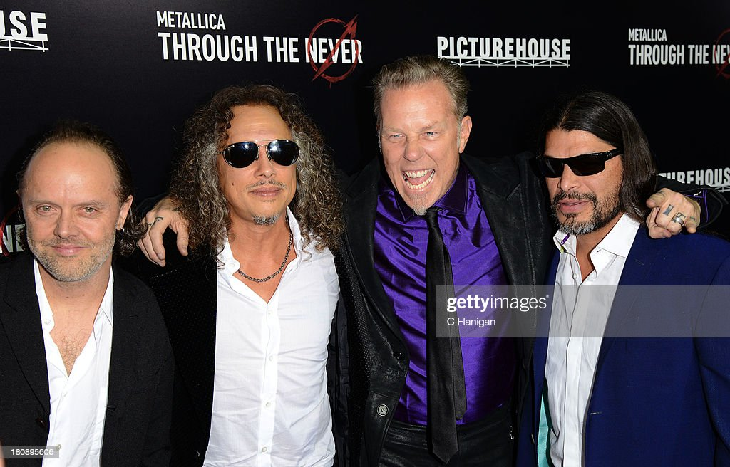 Lars Ulrich, Kirk Hammett, James Hetfield, and Robert Trujillo of Metallica attend the U.S. Premiere of Metallica Through The Never at the AMC Metreon on September 16, 2013 in San Francisco, California.