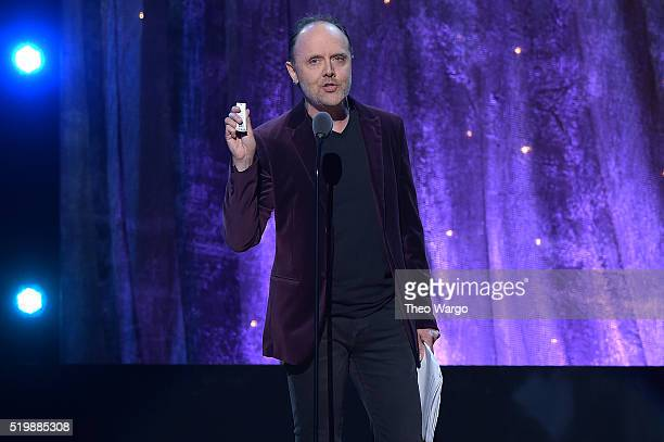 Lars Ulrich of Metallica inducts Deep Purple onstage at the 31st Annual Rock And Roll Hall Of Fame Induction Ceremony at Barclays Center of Brooklyn...