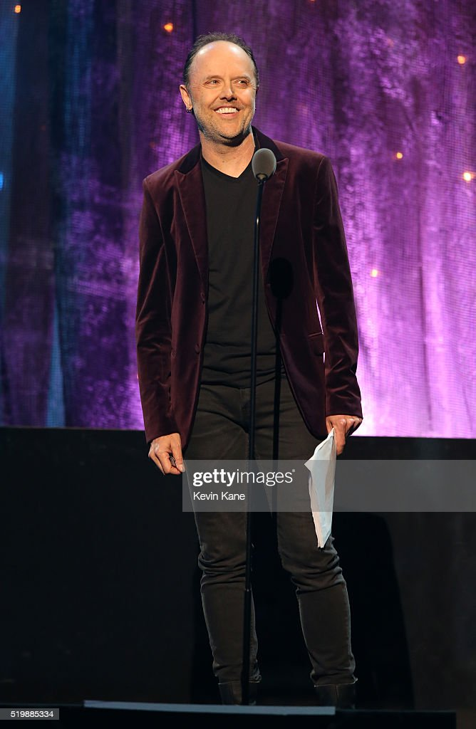 Lars Ulrich of Metallica inducts Deep Purple onstage at the 31st Annual Rock And Roll Hall Of Fame Induction Ceremony at Barclays Center of Brooklyn on April 8, 2016 in New York City.