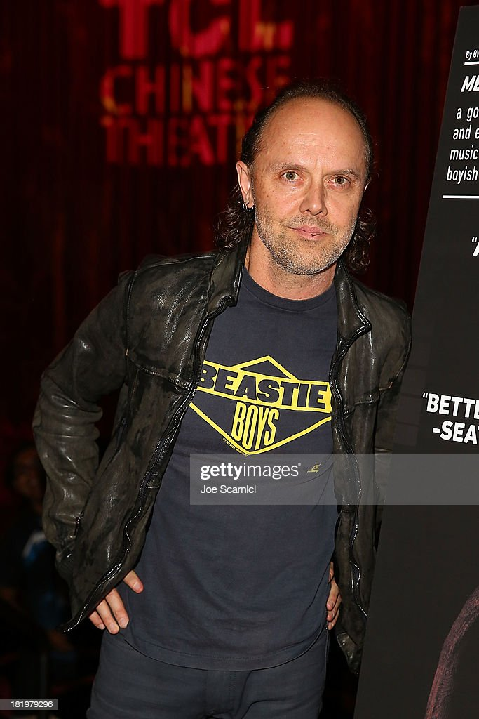 <a gi-track='captionPersonalityLinkClicked' href=/galleries/search?phrase=Lars+Ulrich&family=editorial&specificpeople=209281 ng-click='$event.stopPropagation()'>Lars Ulrich</a> of 'Metallica' makes an appearance at 'Metallica: Through The Never' opening night screening at TCL Chinese Theatre on September 26, 2013 in Hollywood, California.