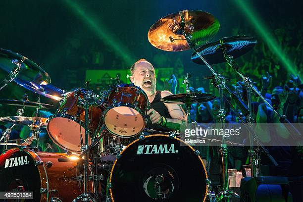 Lars Ulrich of Metallica performing at Colisee Pepsi on September 14 2015 in Quebec City Canada
