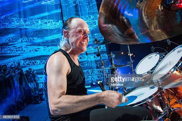 Lars Ulrich of Metallica performing at Lollapalooza at Grant Park on August 1 2015 in Chicago Illinois
