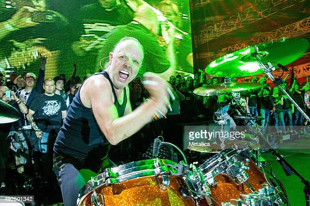 Lars Ulrich of Metallica performing at Rock im Revier at Veltins Arena on May 29 2015 in Gelsenkirchen Germany
