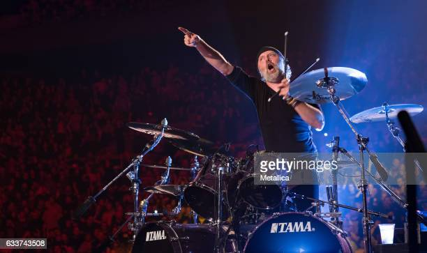 Lars Ulrich of Metallica performs at Royal Arena on February 3 2017 in Copenhagen Denmark
