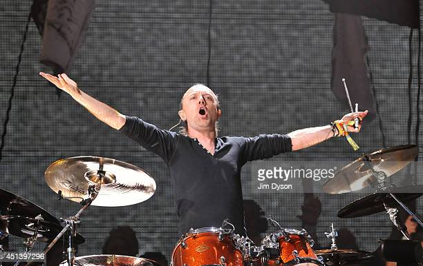 Lars Ulrich of Metallica performs live on the Pyramid stage during day two of the Glastonbury Festival at Worthy Farm in Pilton on June 28 2014 in...