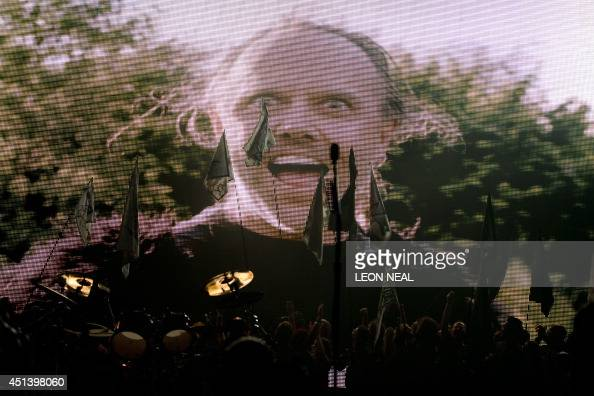 Lars Ulrich of US metal band Metallica appears in a hunting parody video before performing on the Pyramid Stage on the second day of the Glastonbury...