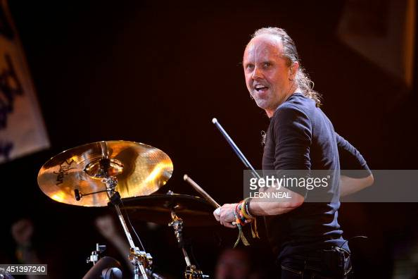 Lars Ulrich of US metal band Metallica performs on the Pyramid Stage on the second day of the Glastonbury Festival of Music and Performing Arts on...