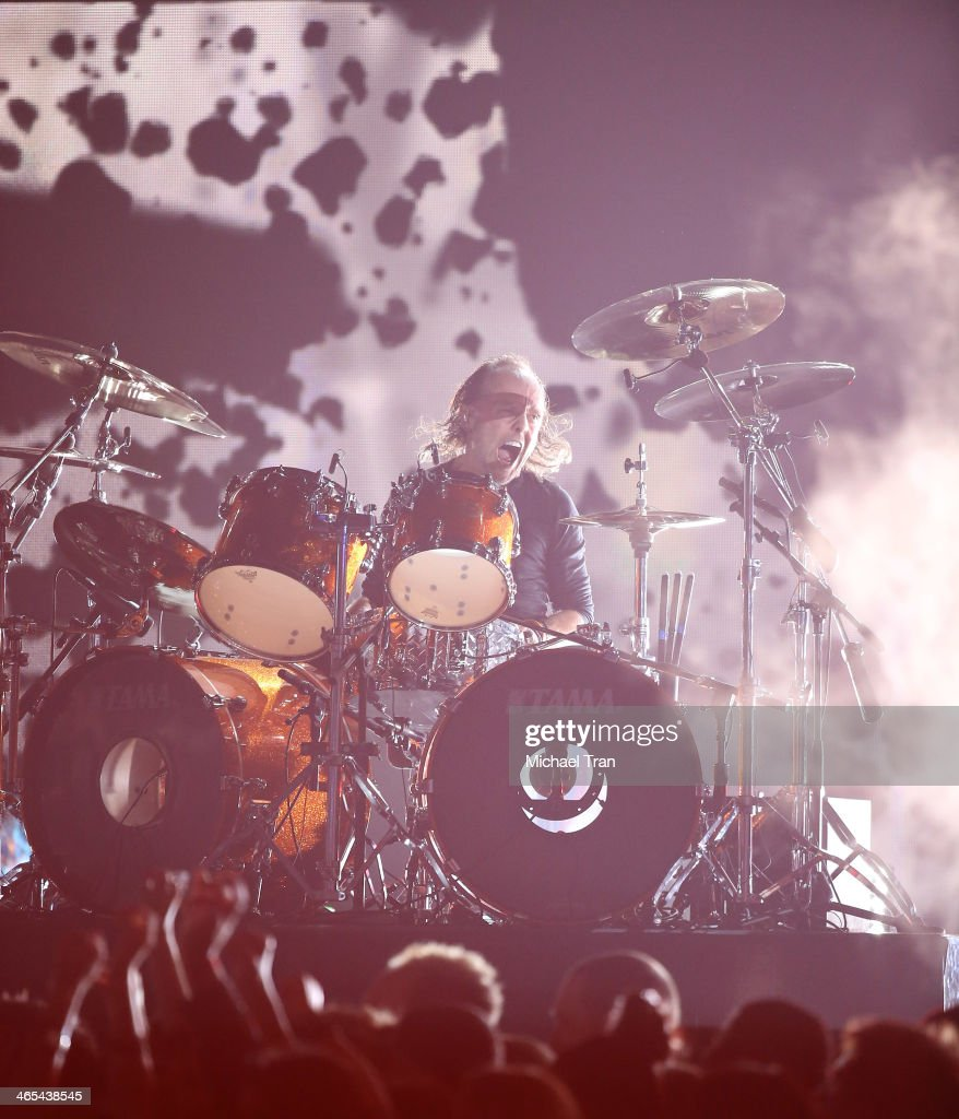 Lars Ulrich performs onstage during the 56th GRAMMY Awards held at Staples Center on January 26, 2014 in Los Angeles, California.