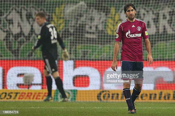 Lars Unnerstall and Raul Gonzalez of Schalke look dejected afte rthe second goal of Gladbach during the DFB Cup round of sixteen match between...