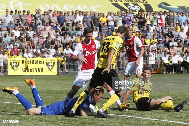 Lars Unnerstall of VVVVenlo Nick Viergever of Ajax Nils Roseler of VVVVenlo Kasper Dolberg of Ajax Danny Post of VVVVenlo during the Dutch Eredivisie...