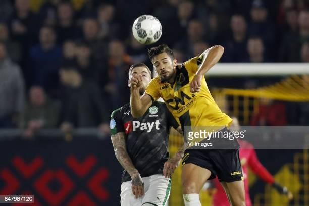 Lars Veldwijk of FC Groningen Pablo Mari Villar of NAC Breda during the Dutch Eredivisie match between NAC Breda and FC Groningen at the Rat Verlegh...