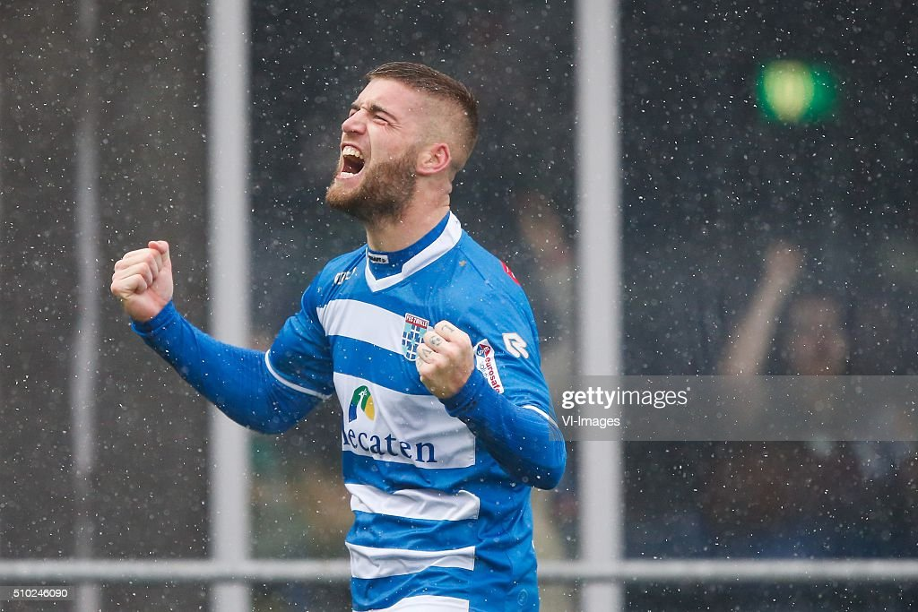 Lars Veldwijk of PEC Zwolle during the Dutch Eredivisie match between PEC Zwolle and Feyenoord Rotterdam at the IJsseldelta stadium on February 14, 2016 in Zwolle, The Netherlands