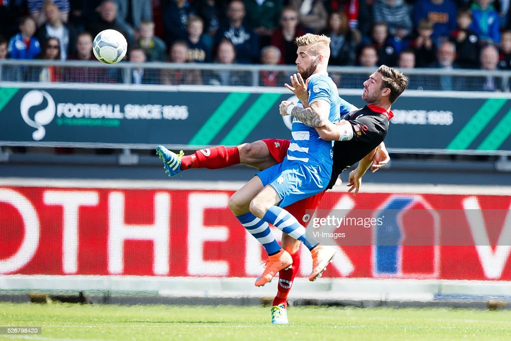 Lars Veldwijk of PEC Zwolle, Sander Fischer of Excelsior during the Dutch Eredivisie match between Excelsior Rotterdam and PEC Zwolle at Woudenstein stadium on May 01, 2016 in Rotterdam, The Netherlands