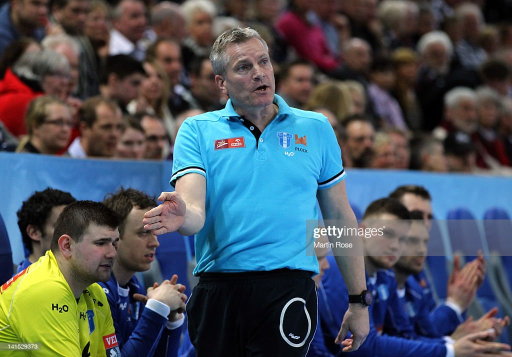 Lars Walther, head coach of Plock gestures during the EHF Champions League second leg match between THW Kiel and Orlen Wisla Plock at Sparkassen Arena on March 18, 2012 in Kiel, Germany.