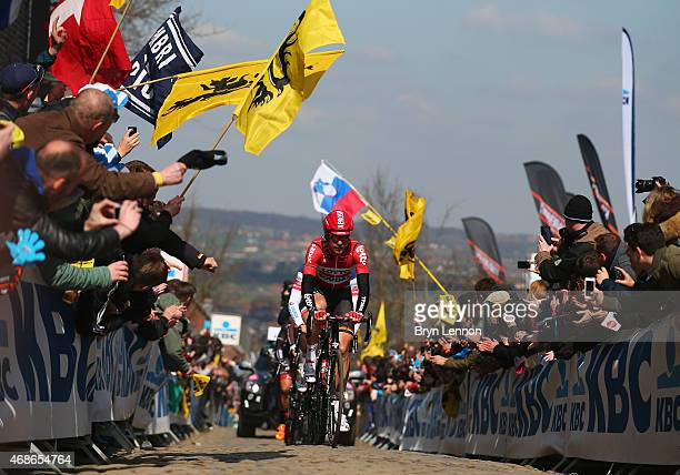Lars Ytting Bak of Denmark and Lotto Soudal leads as he climbs the Oude Kwaremont during the 2015 Tour of Flanders from Bruges to Oudenaarde on April...