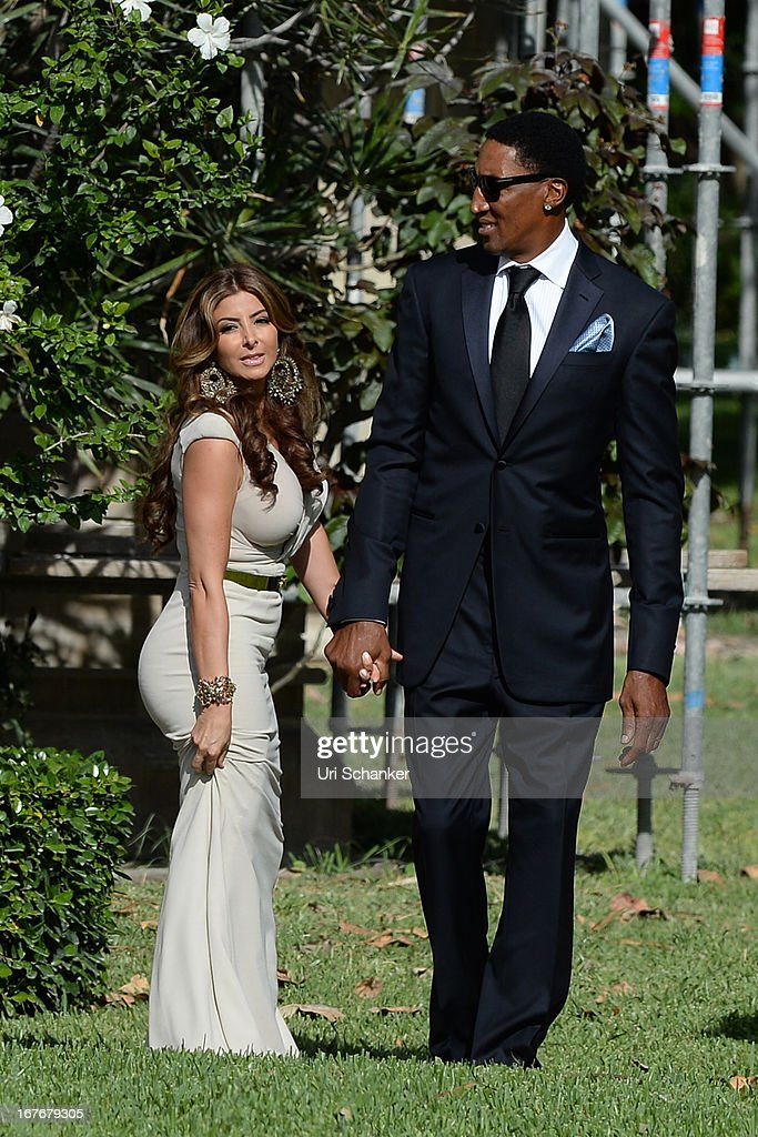 <a gi-track='captionPersonalityLinkClicked' href=/galleries/search?phrase=Larsa+Pippen&family=editorial&specificpeople=2125688 ng-click='$event.stopPropagation()'>Larsa Pippen</a> and <a gi-track='captionPersonalityLinkClicked' href=/galleries/search?phrase=Scottie+Pippen&family=editorial&specificpeople=202466 ng-click='$event.stopPropagation()'>Scottie Pippen</a> are sighted at Michael Jordan and Yvette Prieto wedding Bethesda-by-the Sea church on April 27, 2013 in Palm Beach, Florida.