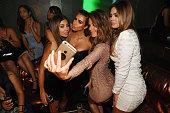 Larsa Pippen Kim Kardashian West Maria Menounos and Carla DiBello pose for a selfie as they attend Hakkasan Las Vegas Nightclub inside MGM Grand on...