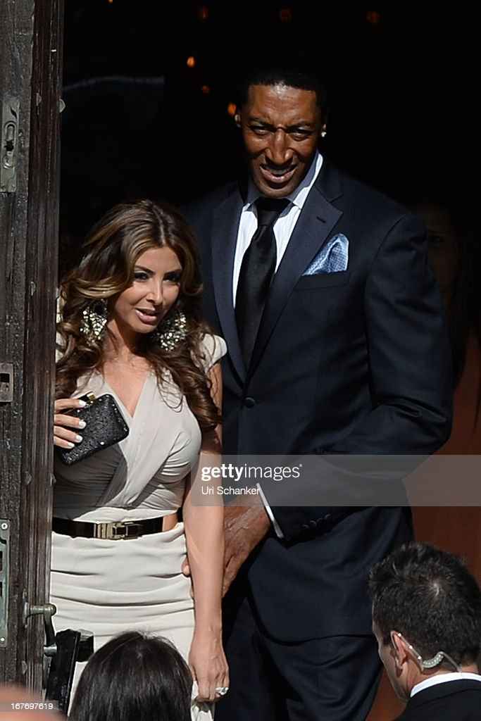 Larsa Pippen'Scottie Pippen arrive at Michael Jordan and Yvette Prieto weddding Bethesda-by-the Sea church on April 27, 2013 in Palm Beach, Florida.