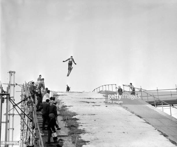 Larsake Bergseije 29yearold electrician from Sundsvall Sweden takes off from the 150foot high ski jump built at Wembley Stadium London where the...