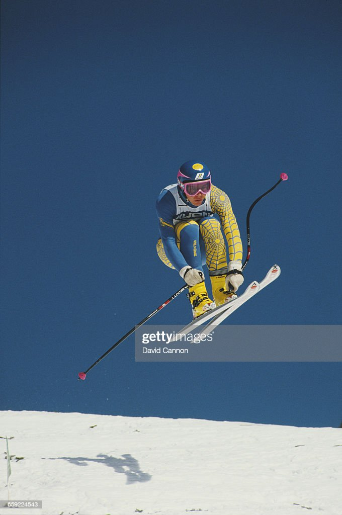 LarsBorje Eriksson of Sweden during the International Ski Federation Men's downhill at the Alpine Skiing World Cup event on 17 January 1987 in Wengen...