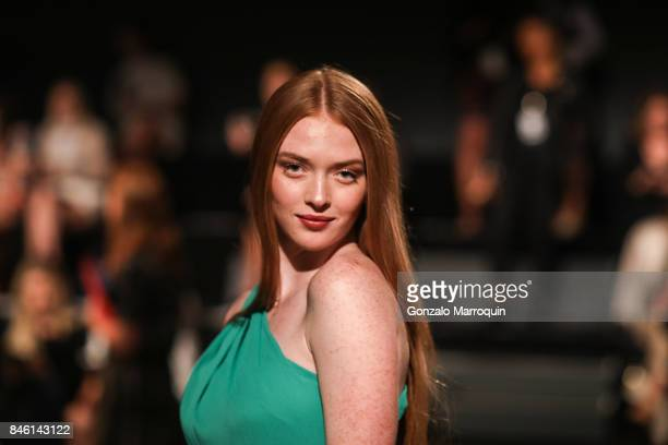 Larsen Thompson attends the Badgley Mischka fashion show September 2017 for New York Fashion Week The Shows at Gallery 3 Skylight Clarkson Sq on...