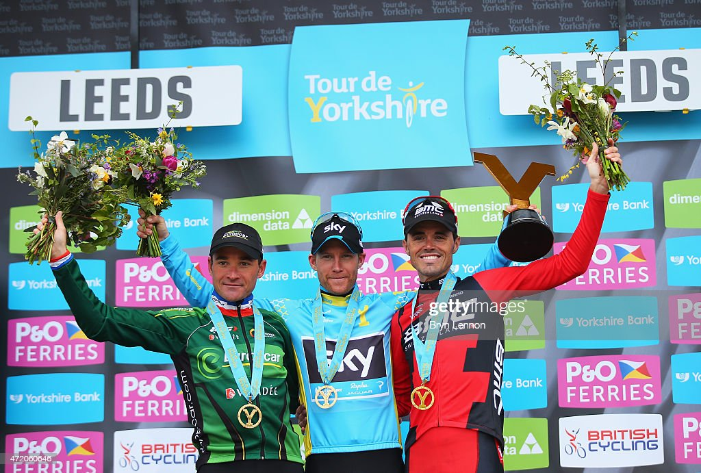 Lars-Petter Nordhaug (C) of Norway and Team Sky celebrates on the podium after his overall victory with second place <a gi-track='captionPersonalityLinkClicked' href=/galleries/search?phrase=Samuel+Sanchez&family=editorial&specificpeople=698997 ng-click='$event.stopPropagation()'>Samuel Sanchez</a> (R) of Spain and BMC Racing Team and third place <a gi-track='captionPersonalityLinkClicked' href=/galleries/search?phrase=Thomas+Voeckler&family=editorial&specificpeople=212948 ng-click='$event.stopPropagation()'>Thomas Voeckler</a> of France and Team Europcar after Stage 3 of the Tour of Yorkshire from Wakefield to Leeds on May 3, 2015 in Leeds, England.