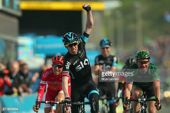 LarsPetter Nordhaug of Norway and Team SKY celebrates winnning stage one of the Tour de Yorkshire from Bridlington to Scarborough on May 1 2015 in...