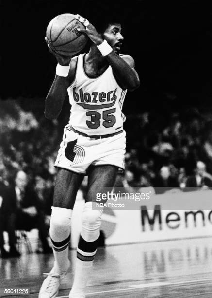 LaRue Martin of the Portland Trail Blazers looks to make a pass play during an NBA game circa 1972 at the Memorial Coliseum in Portland Oregon NOTE...