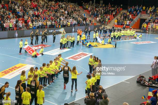 Larvik HK players enter the arena before the Women's EHF Champions league match between Larvik HK and CSM Bucuresti on February 25 2017 in Larvik...