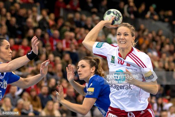 Larvik HK team captain Gro HammersengEdin in the Women's EHF Champions league match between Larvik HK and CSM Bucuresti on February 25 2017 in Larvik...