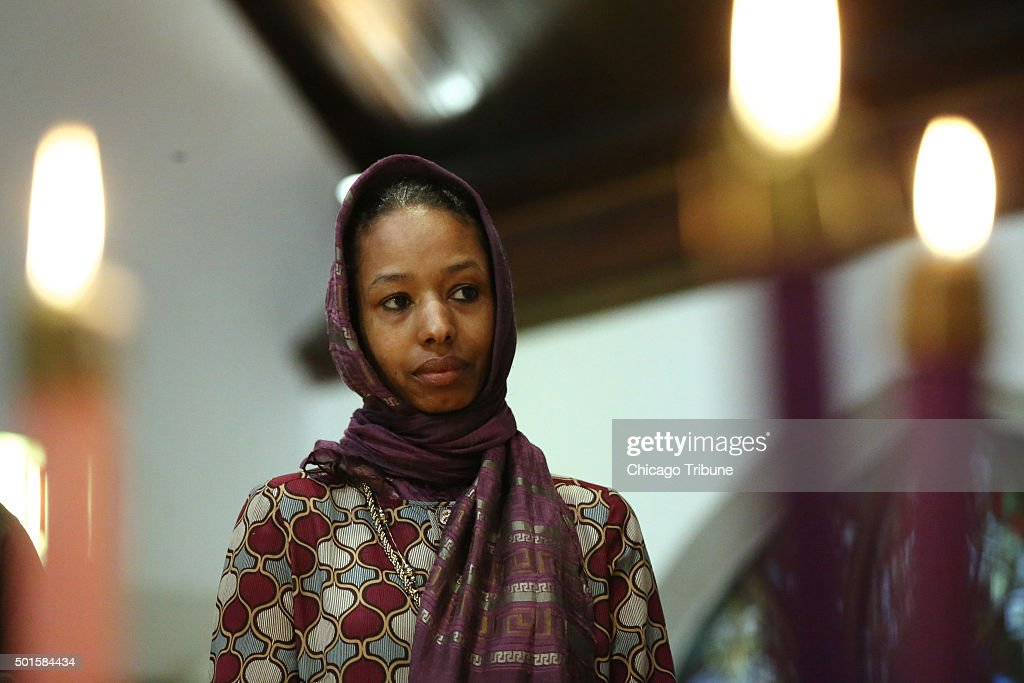 Larycia Hawkins a Christian who is wearing a hijab over Advent in solidarity with Muslims attends service at St Martin Episcopal Church in Chicago on...