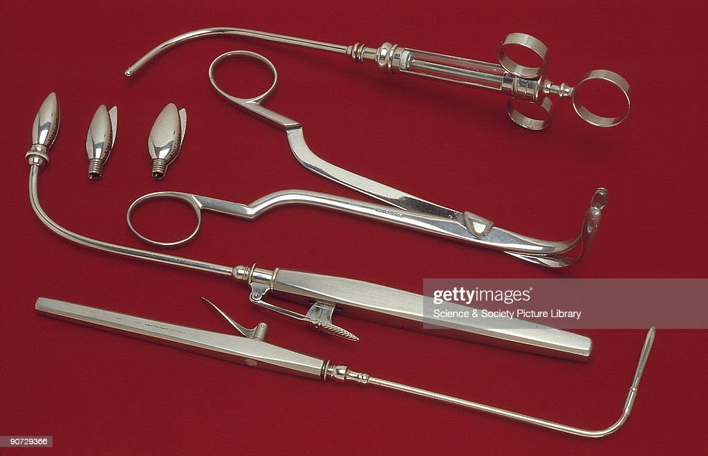 Laryngeal instruments, early 20th century. A syringe, lancet, forceps and cutting dilator. The syringe belonged to the German laryngologist, Professor Adelbert von Tobold (1827-1907); the lancet and forceps belonged to the famous English surgeon, Sir Morell Mackenzie (1837-1892) and the cutting dilator, made by Down of London, was used by Whistler for stenosis of the larynx. It is made of steel with nickel plating, and with two spare heads.