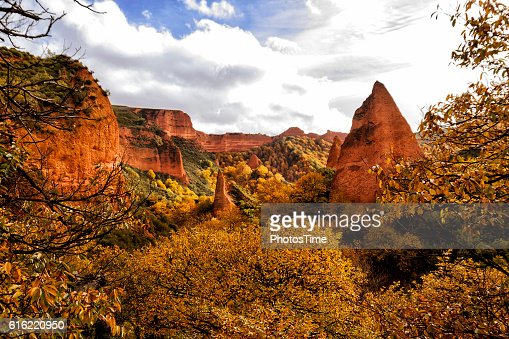 Las Medulas natural park in Leon Spain : Stock Photo