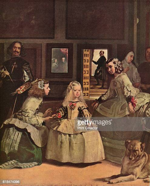 Las Meninas' 1656 Infanta Margarita is attended by two of the Queen`s meninas or maidsofhonour Maria Agustina Sarmiento and Isabel de Velasco In...