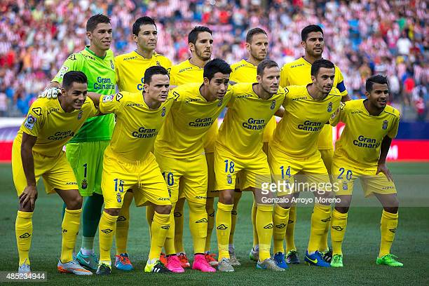 Las Palma line up prior to start the La Liga match between Club Atletico de Madrid and UD Las Palmas at Vicente Calderon Stadium on August 22 2015 in...