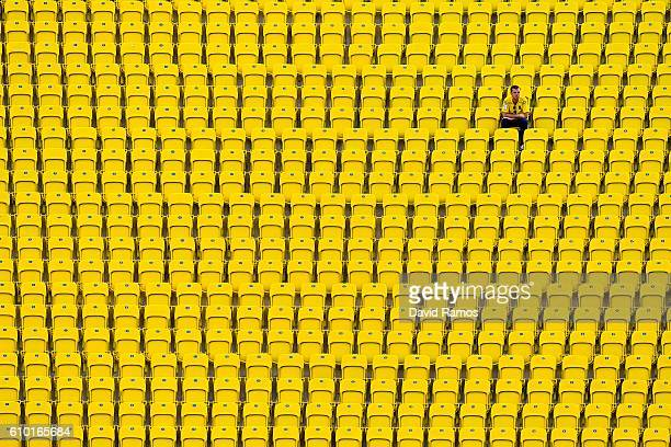 Las Palmas supporter sits on the stand prior to the La Liga match between UD Las Palmas and Real Madrid CF on September 24 2016 in Las Palmas Spain