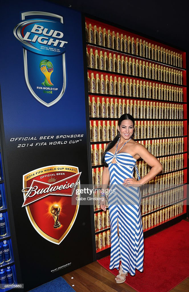 Las Senadoras Alba Galindo arrives at FIFA World Cup Finals Bud Light and Budweiser VIP Party at the Palms Casino Resort on July 13, 2014 in Las Vegas, Nevada.