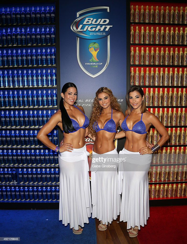 Las Senadoras Alba Galindo, Carolina MaCallister and Natalia Saenz arrive at FIFA World Cup Finals Bud Light and Budweiser VIP Party at the Palms Casino Resort on July 13, 2014 in Las Vegas, Nevada.