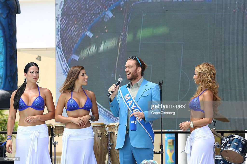 Las Senadoras, Alba Galindo, Natalie Saenz, Mayor of Bud Light Whatever, USA and Las Senadoras Carolina MaCallister speak to the crowd at the FIFA World Cup Finals Bud Light and Budweiser VIP Party at the Palms Casino Resort on July 13, 2014 in Las Vegas, Nevada.